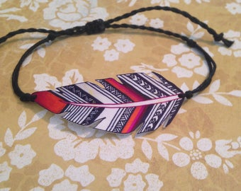 Navy Blue Feather Bracelet - Shrink Plastic Bracelet / Zentangle Bracelet / Hemp Bracelet / Hippie Bracelet / Boho Bracelet