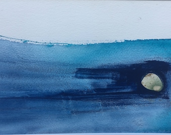 Abstract Seascape in blue. Mounted.