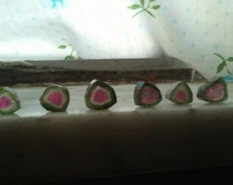 Watermelon tourmoline slices.:Afghanistan.