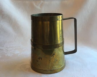 Vintage rustic brass mug with patina
