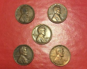 2 Vintage lots of 5 Historic Wartime Wheat pennies