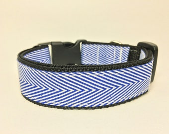 "Thin Blue and White Stripes 1"" Wide Dog Collar, Dog Collar, Handmade"