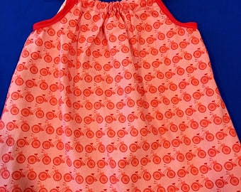 Pillowcase red bicycle print dress