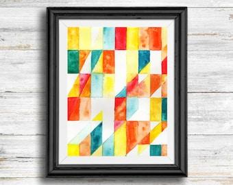Geometric Watercolor Design - Digital Download