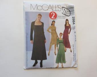 McCall's Pattern #2984: Vintage 80's Women's 2-Hour Dress, size D (12-14-16) Partially Cut