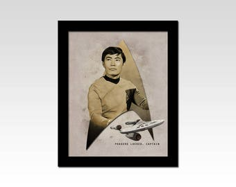 "Star Trek The Original Series Hikaru Sulu ""Phasers Locked Captain"" vintage style print"