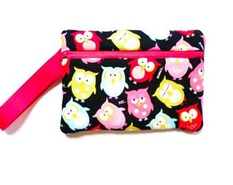 Owl Wristlet - Phone Wallet - Phone Clutch - Owl Gift - Zipper Pouch - Cell Phone Wristlet - Fabric Wristlet - Monogram Wristlet - Clutch