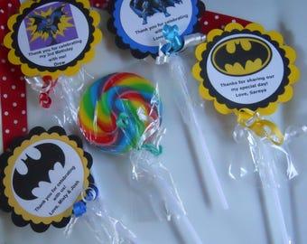 "12 Batman Boys Super Hero 1st 2nd 3rd 4th Birthday Baby Shower Favors Jumbo 3"" Hard Candy Swirl Lollipop Gourmet Party Favor"