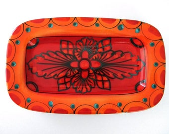 Italian Vintage Hand Made and Hand Painted Ceramic Bread Dish Serving Platter Arte D'Italia