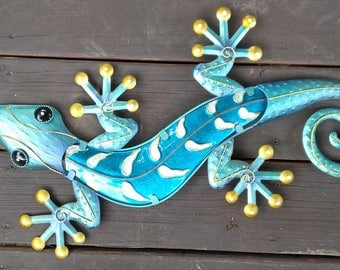 Large Metal Gecko Wall Art 24""