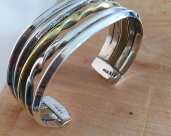 Stunning Vintage Silver Cuff Bracelet with Brass Accent (1970s Brutalist) Dainty in its own way