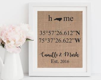 Home Gift Latitude Longitude Coordinates Burlap Print