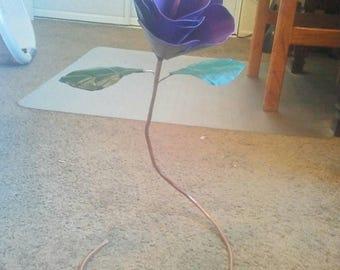 Handmade metal purple flower