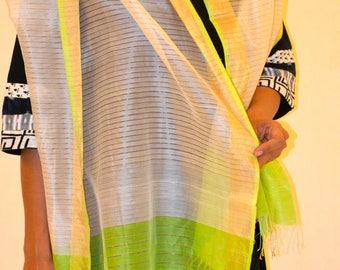White and Green Zari Maheshwari Wrap