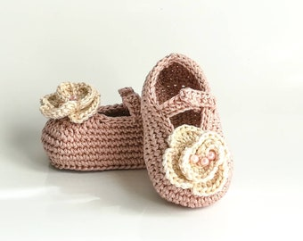 Crochet baby booties, baby shoes, Mary Janes shoes, crochet baby girl shoes, girl ballet style shoes, newborn baby shoes, shower gift