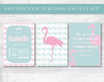 Kids Name Meaning, Digital Personalized Printable Set, Pink and Turquoise Flamingo Name Sake