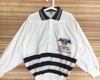 RARE !! Vintage American Paradise Marine Small Embroidered Logo Sweatshirt