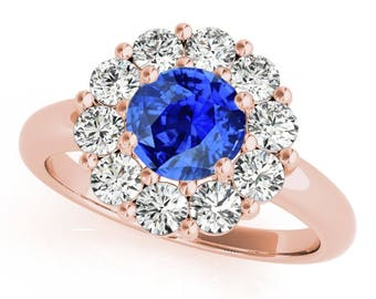 1.90Ct. Halo Tanzanite And Diamond Engagement Wedding  Ring In 10K Gold