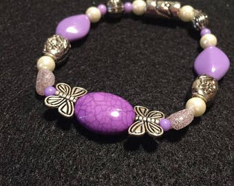 Purple and Silver Beaded Bracelets with Butterfly Accents