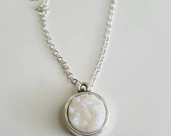 12mm druzy pendent on a 18 inch silver chain