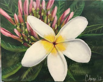 Handmade acrylic painting of plumeria flower