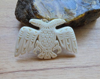 Double Eagle Bone Pendant, Thunderbird, Eagle Northwest Coast, Bali Bone Carving NWC 2