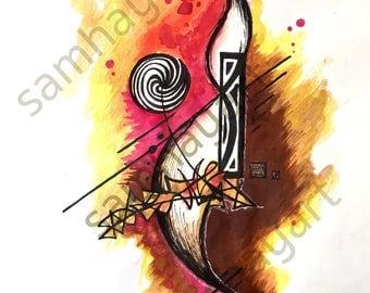Salomé. Watercolour, pen and paper, 190x250mm. Contemporary Art.