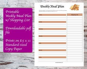 Printable Weekly Meal Plan with Scripture John 6:35, Meal Planning
