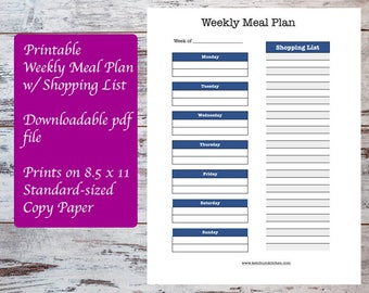 Printable Weekly Meal Plan including Shopping List, Meal Planning