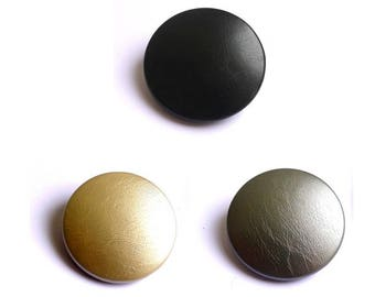 Lot 3 large buttons faux leather, size and color options are made in France