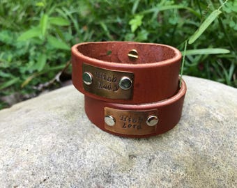 High Lord & High Lady (His and Hers) Leather and Copper Cuff