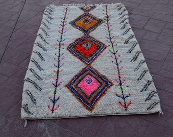Morocccan berber azilal carpet oriental carpets home decor rug handmade multicolor rug 230 cm*127 cm / 90.5 inch* 50 inch