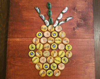Custom Handmade Bottle Cap Pineapple Wall Decor