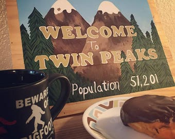 Welcome To Twin Peaks Wood Sign Wall Hanging