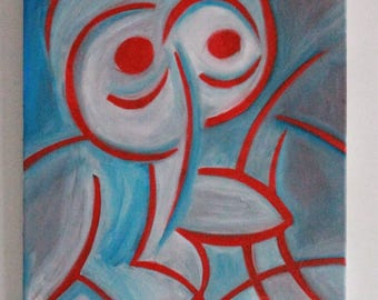 Red background portrait gradations of blue.