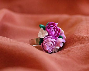 Flower bouquet ring, peony bouquet ring