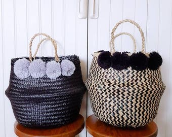 Seagrass Basket/Market Tote/ Beach Bag/Panier Bole - zig zag with black tassel pom poms. Instock!