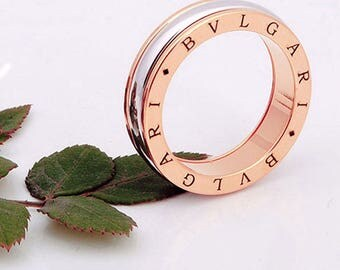 ITALY DESIGN trendy! brand new titanium ring with Rose Gold & AAA 18 zircon Gr. 17