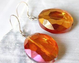 Earrings in Silver 925 and Crystal Orange