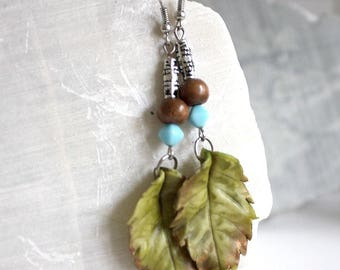 Spring leaves rose earrings