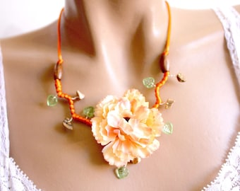 Summer orange necklace branch floral beads.