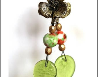 Earrings studs bronze flowers and green leaves
