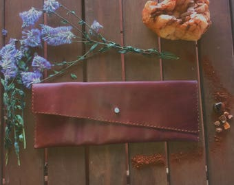 Whiskey Tan Brown Leather Clutch