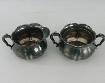 2 Pc Set-Antq Silverplate Beaded Rim Sugar Bowl & Creamer-Warner Silver-1894-1915