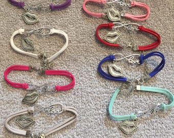 NEW Love lip charm bracelets