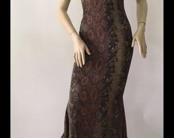 Ozbek Rare Multi Shade Snake Print Asymmetric Hem Dress (Size 4)