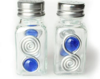 Jewelry By Andrea Blue Bead Embellished Salt & Pepper Shakers