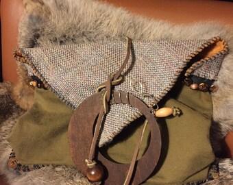 Moss Green, Leather Bottom Clutch