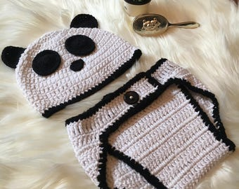 Hand Crochet Panda Baby Beanie and nappy cover and booties/Crochet Baby Clothes/ Cotton Baby Knitwear/ Panda/ Unisex Clothing