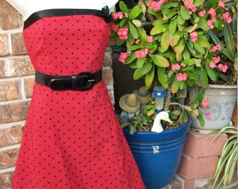 Red/Black Polka Dot Pin Up Chacha De Gregorio Rockabilly Dress Size Med.